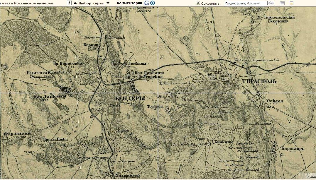 карта Тирасполь Бендеры  карта России  Российской империи