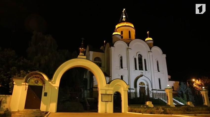 Ночная подсветка кафедрального собор Рождества Христова в Тирасполе