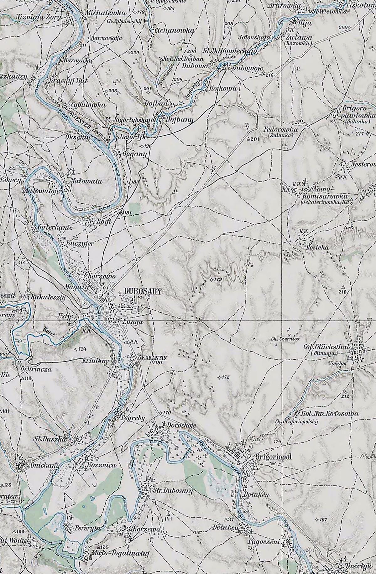 карта  Дубоссары Григориополь карта австрийского генштаба